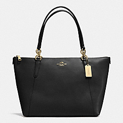 AVA TOTE IN CROSSGRAIN LEATHER - f35808 - LIGHT GOLD/BLACK