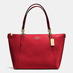 AVA TOTE IN CROSSGRAIN LEATHER - f35808 - IMITATION GOLD/TRUE RED