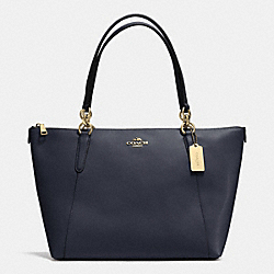 AVA TOTE IN CROSSGRAIN LEATHER - f35808 - LIGHT GOLD/MIDNIGHT