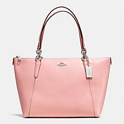 AVA TOTE IN CROSSGRAIN LEATHER - f35808 - SILVER/BLUSH