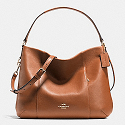 COACH F35809 East/west Isabelle Shoulder Bag In Pebble Leather LIGHT GOLD/SADDLE