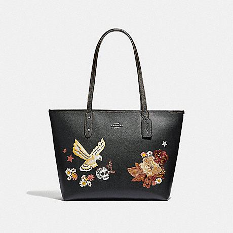 COACH F35865 CITY ZIP TOTE WITH TATTOO EMBROIDERY BLACK-MULTI/BLACK-ANTIQUE-NICKEL