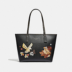 COACH F35865 - CITY ZIP TOTE WITH TATTOO EMBROIDERY BLACK MULTI/BLACK ANTIQUE NICKEL