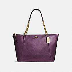 COACH F35868 Ava Chain Tote METALLIC RASPBERRY/LIGHT GOLD