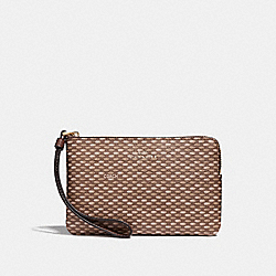 COACH F35869 Corner Zip Wristlet With Legacy Print NEUTRAL/LIGHT GOLD