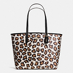COACH F35874 City Tote In Ocelot Print Coated Canvas LIGHT GOLD/CHALK MULTI