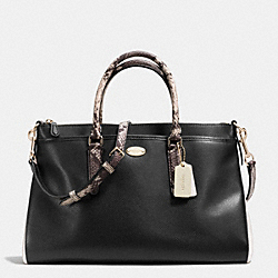 COACH F35887 Morgan Satchel In Exotic Trim Leather LIGHT GOLD/BLACK/WHITE