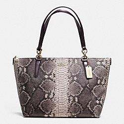 COACH F35888 Ava Tote In Python Embossed Leather LIGHT GOLD/GREY MULTI