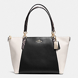 COACH F35891 - AVA TOTE IN EXOTIC TRIM LEATHER LIGHT GOLD/BLACK/WHITE