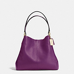 COACH F35893 Phoebe Shoulder Bag In Exotic Trim Leather SILVER/PLUM