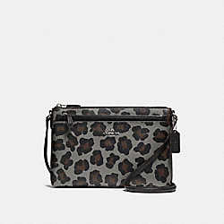 COACH F35896 - EAST/WEST POP CROSSBODY WITH OCELOT PRINT SILVER/GREY MULTI
