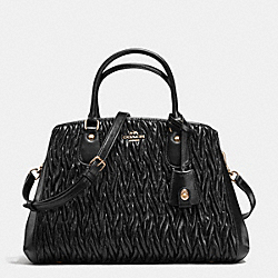 COACH F35910 - SMALL MARGOT CARRYALL IN TWISTED GATHERED LEATHER IMITATION GOLD/BLACK F37336