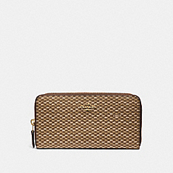 COACH F35925 Accordion Zip Wallet With Legacy Print NEUTRAL/LIGHT GOLD