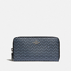 COACH F35925 Accordion Zip Wallet With Legacy Print SILVER/NAVY