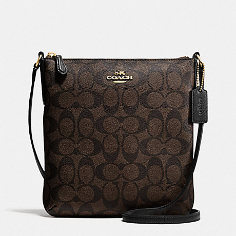 COACH F35940 NORTH/SOUTH CROSSBODY IN SIGNATURE LIGHT-GOLD/BROWN/BLACK