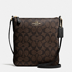 COACH F35940 - NORTH/SOUTH CROSSBODY IN SIGNATURE LIGHT GOLD/BROWN/BLACK