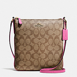 COACH F35940 - NORTH/SOUTH CROSSBODY IN SIGNATURE IMITATION GOLD/KHAKI/DAHLIA