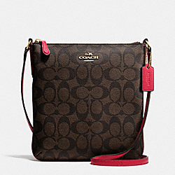 COACH F35940 North/south Crossbody In Signature IMITATION GOLD/BROW TRUE RED