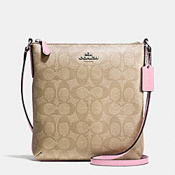 COACH F35940 North/south Crossbody In Signature SILVER/LIGHT KHAKI/PETAL