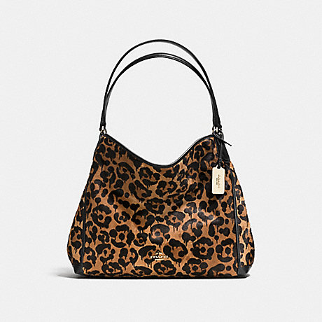 COACH f35977 EDIE SHOULDER BAG WITH OCELOT PRINT<br>蔻驰EDIE肩包豹猫打印 野兽/浅黄金