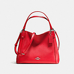 COACH EDIE SHOULDER BAG 28 IN PEBBLE LEATHER - SILVER/TRUE RED - F35983