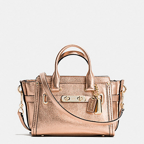 COACH f35990 COACH SWAGGER 20 IN METALLIC PEBBLE LEATHER LIGHT GOLD/ROSE GOLD