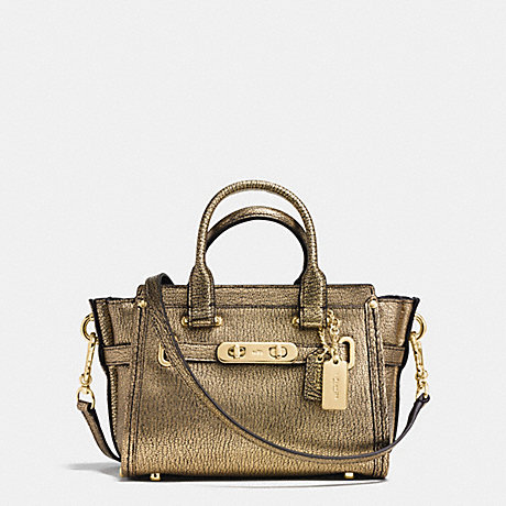 COACH SWAGGER 20 IN METALLIC PEBBLE LEATHER - COACH F35990 - LIGHT GOLD/GOLD