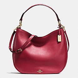 COACH F36026 - COACH NOMAD HOBO IN GLOVETANNED LEATHER LIGHT GOLD/BLACK CHERRY