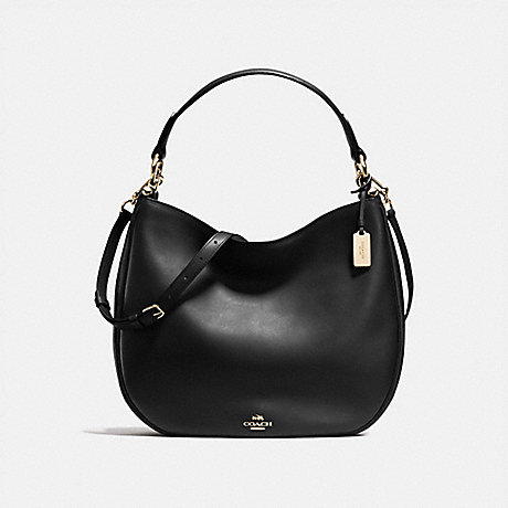 COACH f36026 COACH NOMAD HOBO IN GLOVETANNED LEATHER LIGHT GOLD/BLACK