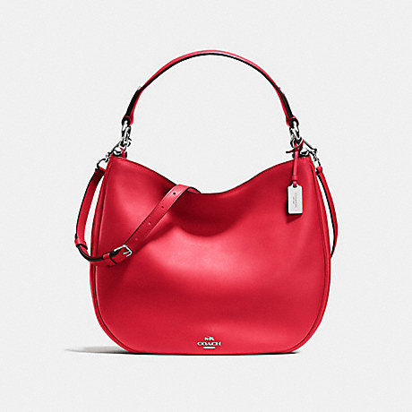 COACH F36026 COACH NOMAD HOBO IN GLOVETANNED LEATHER SILVER/TRUE-RED