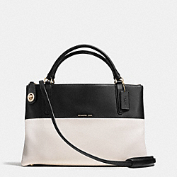 BOROUGH BAG IN COLORBLOCK CROSSGRAIN LEATHER - f36030 - LIGHT GOLD/CHALK/BLACK