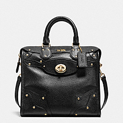 COACH F36049 - MINI RHYDER 33 SATCHEL IN PEBBLE LEATHER LIGHT GOLD/BLACK
