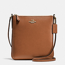 COACH F36063 North/south Crossbody In Crossgrain Leather LIGHT GOLD/SADDLE F34493
