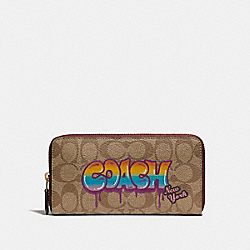 COACH F36079 Accordion Zip Wallet In Signature Canvas With Graffiti KHAKI/LIGHT GOLD