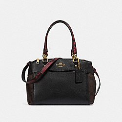 MINI BROOKE CARRYALL IN SIGNATURE CANVAS COLORBLOCK - f36083 - brown black/multi/light gold