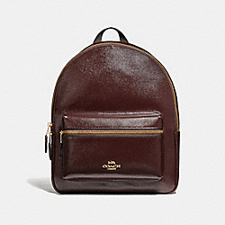 COACH F36088 Medium Charlie Backpack OXBLOOD 1/LIGHT GOLD
