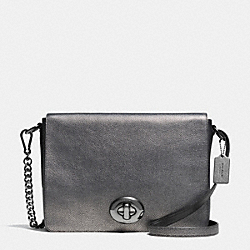 COACH F36113 - TURNLOCK SHOULDER FLAP BAG IN METALLIC PEBBLE LEATHER ANTIQUE NICKEL/GUNMETAL