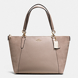 COACH F36123 Ava Tote In Suede Exotic Trim Leather LIGHT GOLD/STONE