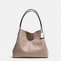 COACH F36124 Phoebe Shoulder Bag In Suede Exotic Trim Leather LIGHT GOLD/STONE