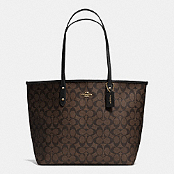 COACH F36126 City Tote In Signature LIGHT GOLD/BROWN/BLACK