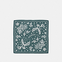 COACH F36159 Dream Catcher Cotton Silk Jacquard Bandana DARK TURQUOISE