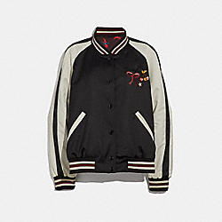 COACH F36160 Embroidered Reversible Souvenir Jacket BLACK