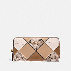 COACH F36163 Accordion Zip Wallet BEECHWOOD MULTI/LIGHT GOLD