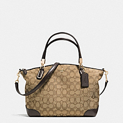 COACH F36181 - SMALL KELSEY SATCHEL IN SIGNATURE WITH LEATHER TRIM  LIGHT GOLD/KHAKI/BROWN