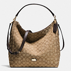 CELESTE CONVERTIBLE HOBO IN SIGNATURE - f36183 - LIGHT GOLD/KHAKI/BROWN