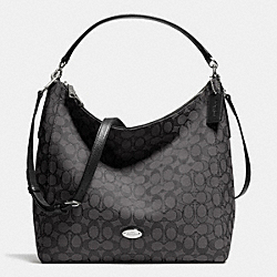 CELESTE CONVERTIBLE HOBO IN SIGNATURE - f36183 - SILVER/BLACK SMOKE/BLACK