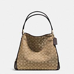 PHOEBE OUTLINE SHOULDER BAG IN SIGNATURE CANVAS - f36184 -  LIGHT GOLD/KHAKI/BROWN