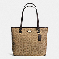 COACH F36185 - ZIP TOP TOTE IN SIGNATURE  LIGHT GOLD/KHAKI/BROWN