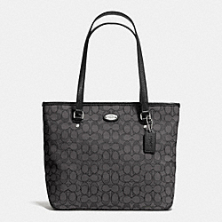COACH F36185 - ZIP TOP TOTE IN SIGNATURE  SILVER/BLACK SMOKE/BLACK