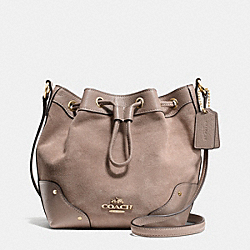 COACH F36217 Baby Mickie Drawstring Shoulder Bag In Suede IMITATION GOLD/STONE